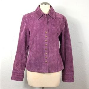 Coldwater Creek jacket coat purple suede military